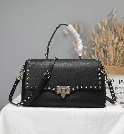2019 Valentino Rockstud Handbag in Black Grain Calfskin Leather