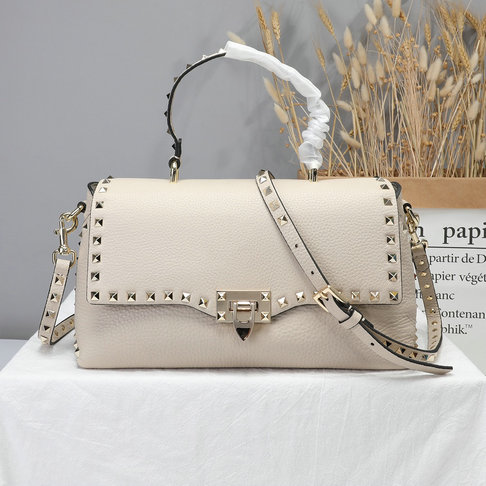 2019 Valentino Rockstud Handbag in Grain Calfskin Leather