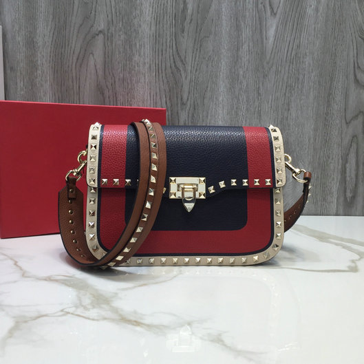 2019 Valentino Rockstud Rolling Crossbody Bag in Multicolor Grained Leather