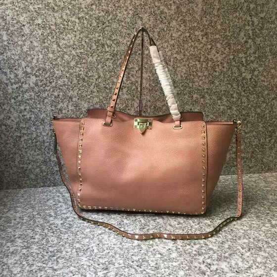 2019 Valentino Rockstud Tote Bag in Grainy Leather