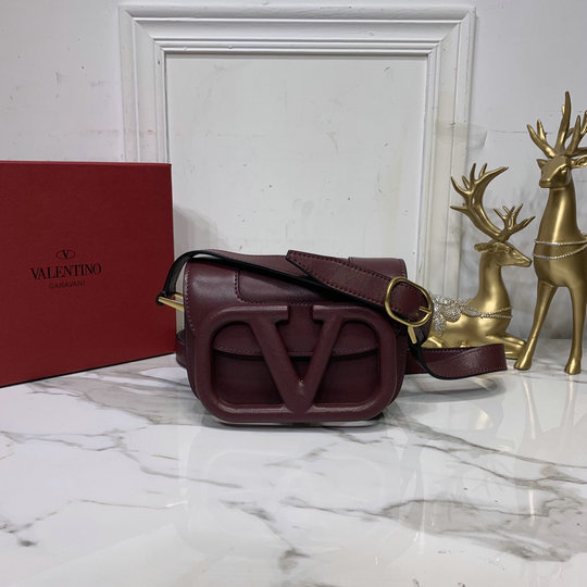 2020 Valentino Supervee Small Shoulder Bag in Burgundy Leather