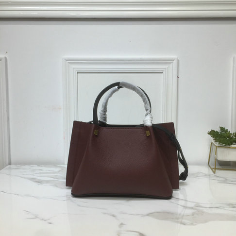 2019 Valentino Small VLOGO Escape Grainy Calfskin Shopper in Burgundy