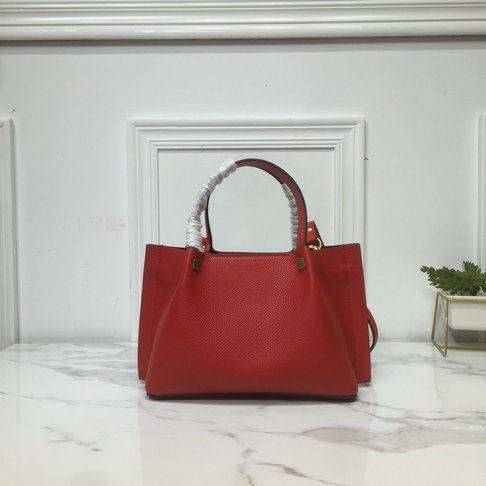 2019 Valentino Small VLOGO Escape Grainy Calfskin Shopper in Red