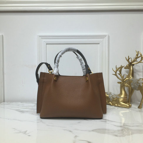 2019 Valentino Small VLOGO Escape Grainy Calfskin Shopper in Tan