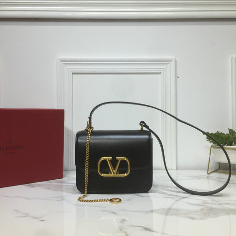 2019 Valentino Small VSLING Shoulder Bag in Black Leather