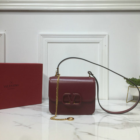 2019 Valentino Small VSLING Shoulder Bag in Burgundy Leather
