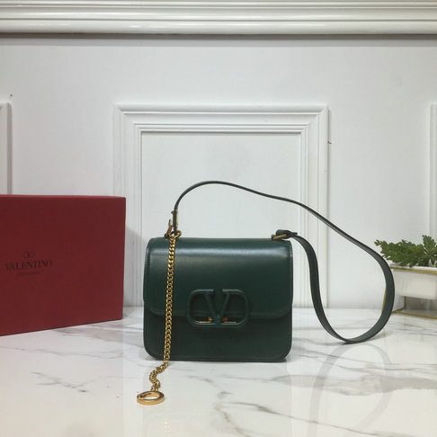 2019 Valentino Small VSLING Shoulder Bag in Dark Green Leather