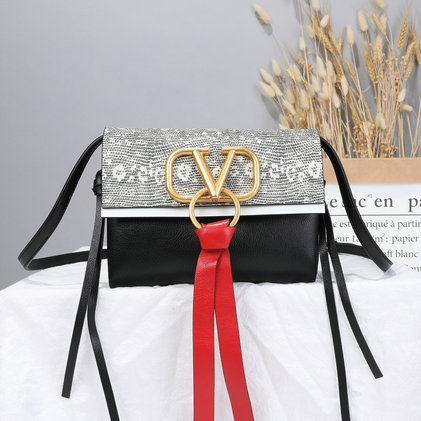 2019 Valentino Small Vring Lizard Crossbody Bag