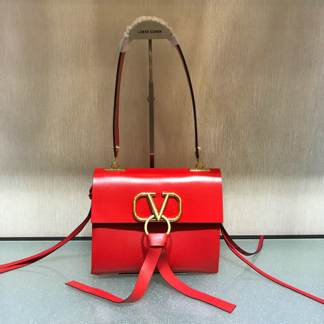2019 Valentino Small Vring Shoulder Bag in Red Leather