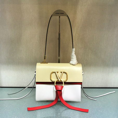 2019 Valentino Small Vring Shoulder Bag in Bicolor Leather