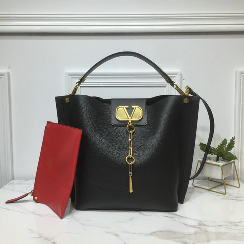 2019 Valentino Vlogo Escape Hobo Bag in Black Leather
