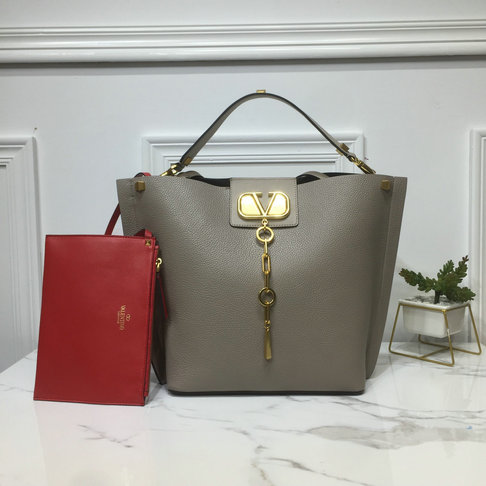2019 Valentino Vlogo Escape Hobo Bag in Grey Leather