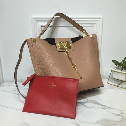 2019 Valentino Vlogo Escape Hobo Bag in Nude Leather