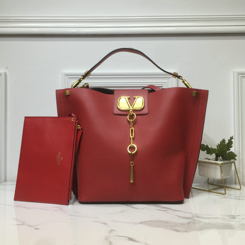 2019 Valentino Vlogo Escape Hobo Bag in Red Leather