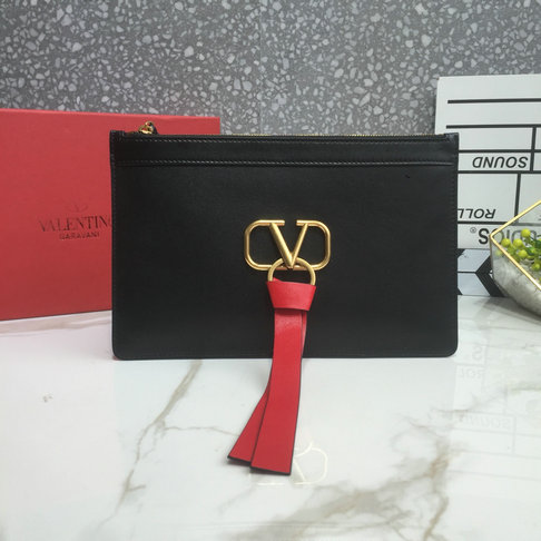 2019 Valentino VLOGO Pouch in Black Calfskin Leather