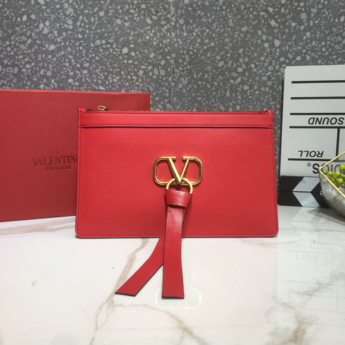 2019 Valentino VLOGO Pouch in Red Calfskin Leather