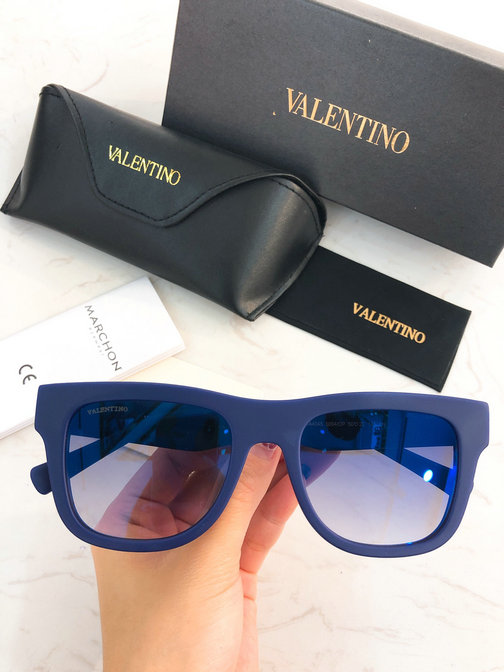 2019 Valentino Rectangular Acetate VLTN Sunglasses