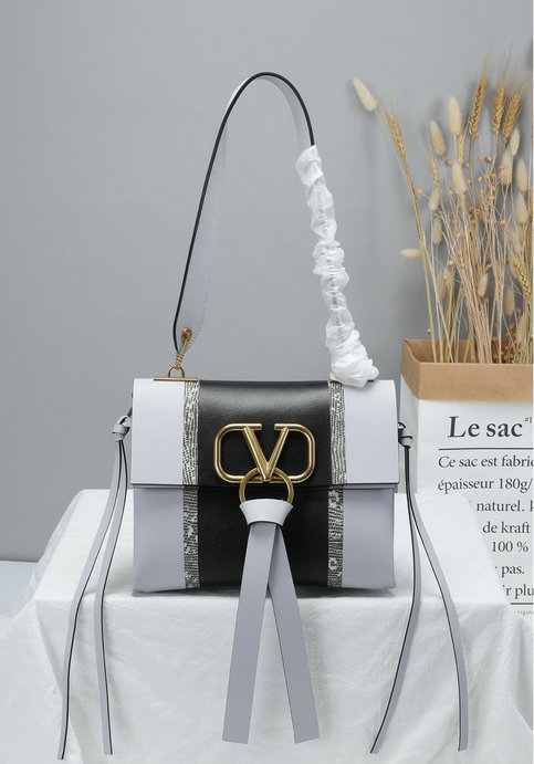 2019 Valentino Small VRING Shoulder Bag with Inlaid Stripes