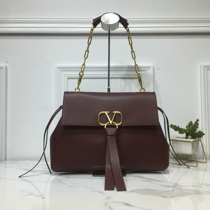 2019 Valentino Medium VRing Grainy Calfskin Chain Bag in Burgundy