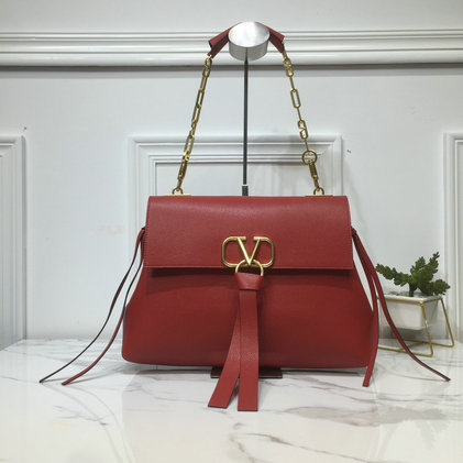2019 Valentino Medium VRing Grainy Calfskin Chain Bag in Red