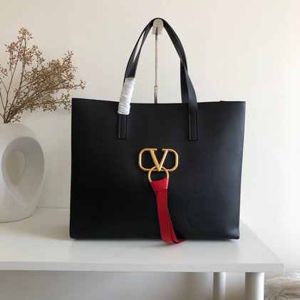 2019 Valentino Large E/W Vring Shopping Tote in Black