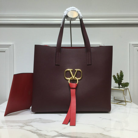 2019 Valentino Large E/W Vring Shopping Tote in Calf Leather