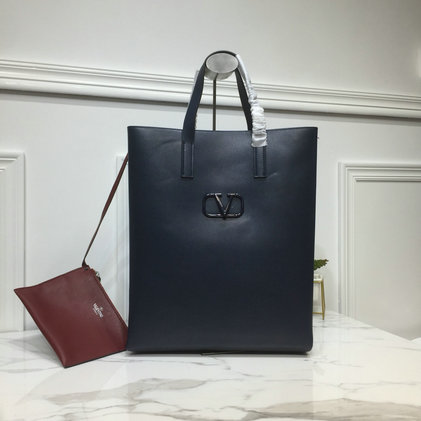 2019 Valentino Long N/S Vring Shopping Tote in bicolor calfskin leather