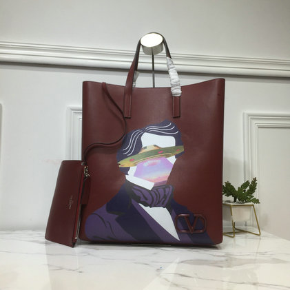2019 Valentino Painted Long N/S Vring Shopping Tote in calfskin leather