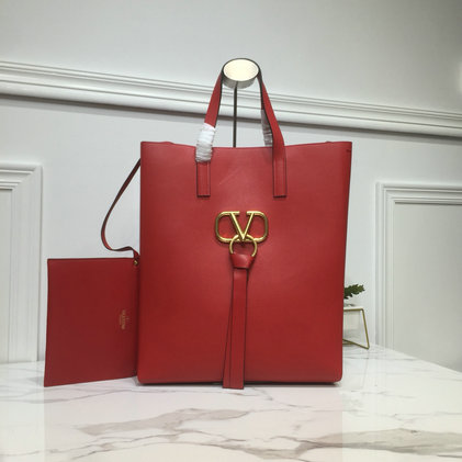 2019 Valentino Long N/S Vring Shopping Tote in red calfskin leather