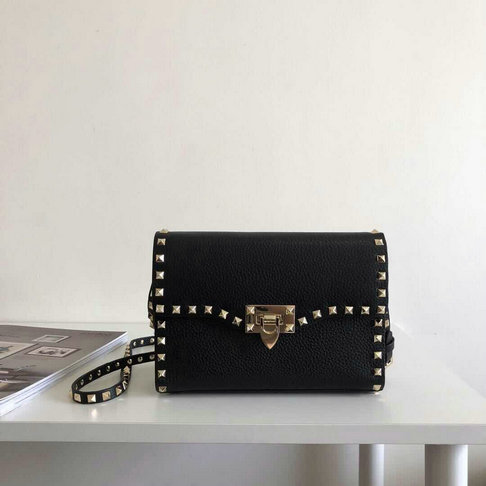 2019 Valentino Leather Shoulder Bag in Black