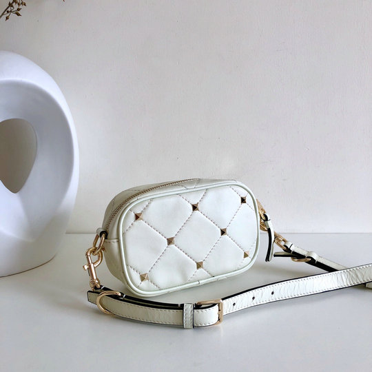 2020 Valentino Boomstud Small Crossbody Bag in White Quilted Leather