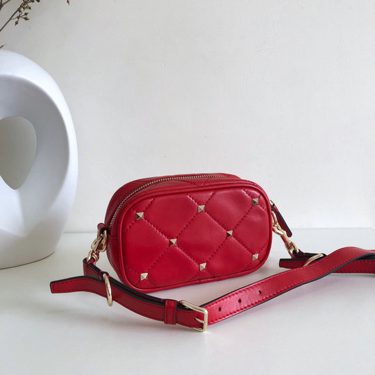 2020 Valentino Boomstud Small Crossbody Bag in Red Quilted Leather