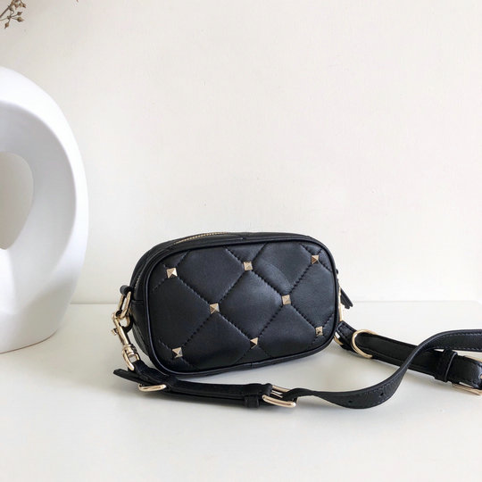 2020 Valentino Boomstud Small Crossbody Bag in Black Quilted Leather