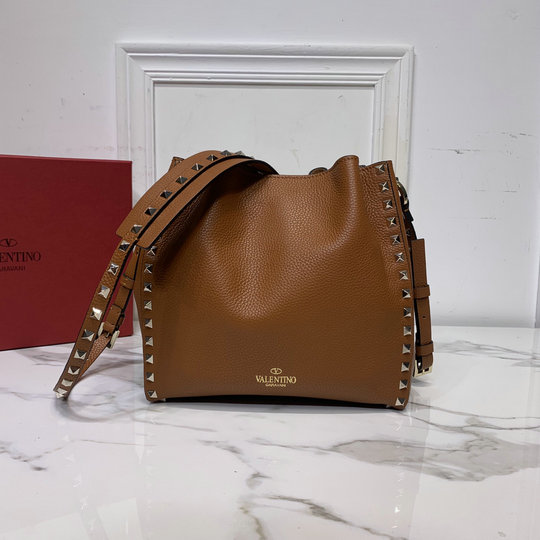 2020 Valentino Small Rockstud Bucket Bag in Brown Grainy Calfskin Leather