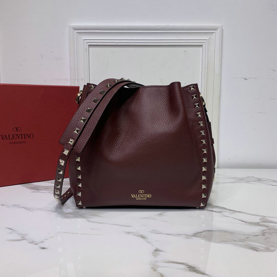 2020 Valentino Small Rockstud Bucket Bag in Burgundy Grainy Calfskin Leather