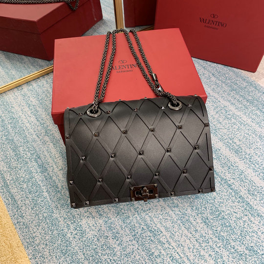 2020 Valentino Beehive Small Chain Shoulder Bag in Black Leather