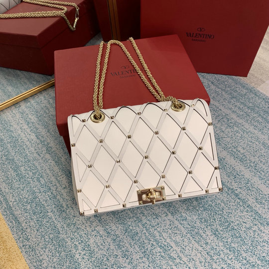 2020 Valentino Beehive Small Chain Shoulder Bag in Light Ivory Leather