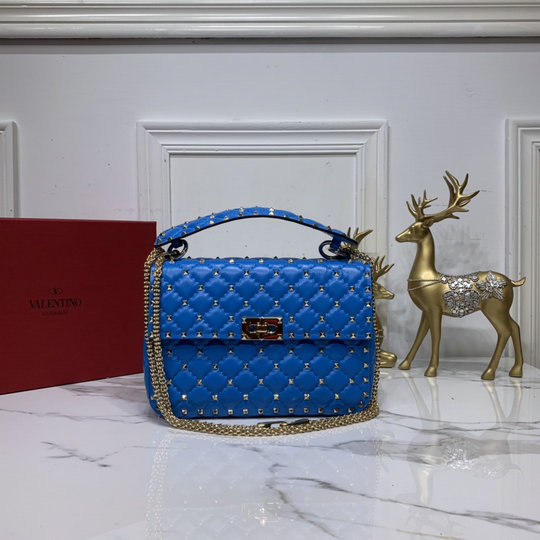 2020 Valentino Medium Rockstud Spike Fluo Calfskin Leather Bag in Blue