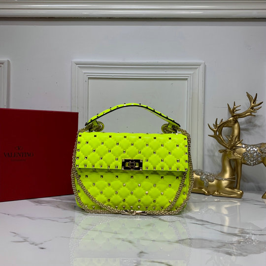 2020 Valentino Medium Rockstud Spike Fluo Calfskin Leather Bag in Lime
