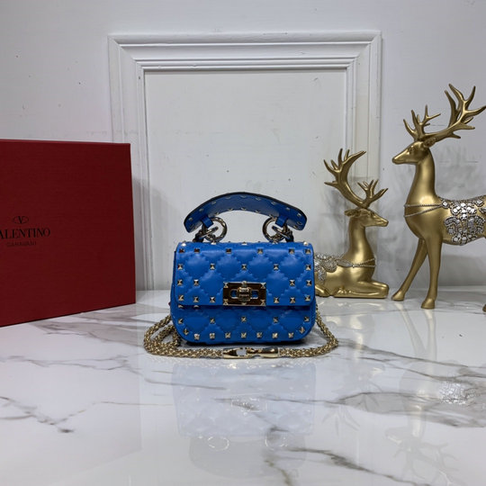 2020 Valentino Micro Rockstud Spike Fluo Calfskin Leather Bag in Neon Blue