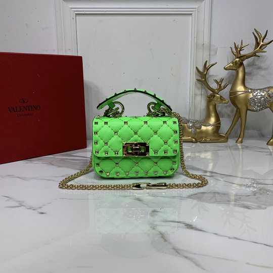 2020 Valentino Micro Rockstud Spike Fluo Calfskin Leather Bag in Fluorescent Green