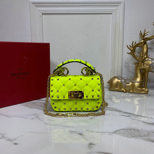 2020 Valentino Micro Rockstud Spike Fluo Calfskin Leather Bag in Lime
