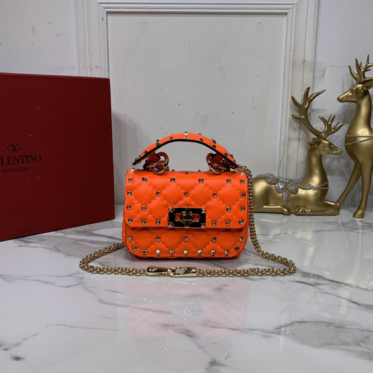2020 Valentino Micro Rockstud Spike Fluo Calfskin Leather Bag in Florescent Orange