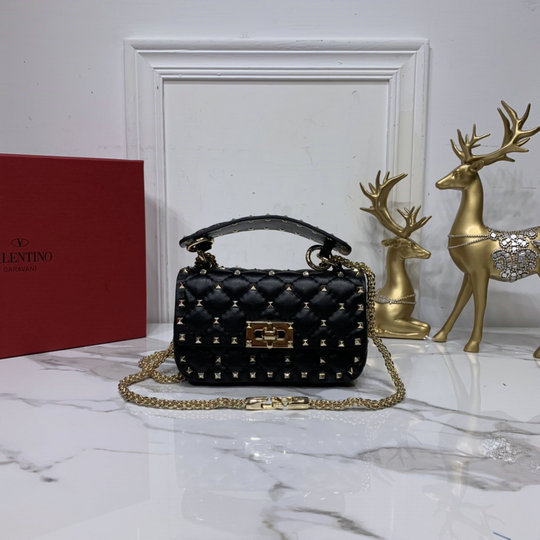 2020 Valentino Mini Rockstud Spike Calfskin Leather Bag in Black