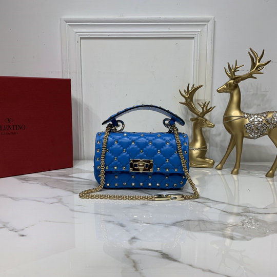2020 Valentino Mini Rockstud Spike Fluo Calfskin Leather Bag in Neon Blue