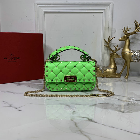 2020 Valentino Mini Rockstud Spike Fluo Calfskin Leather Bag in Fluorescent Green