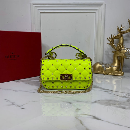 2020 Valentino Mini Rockstud Spike Fluo Calfskin Leather Bag in Lime