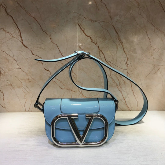 2020 Valentino Small Supervee Shoulder Bag in Light Blue Patent Leather
