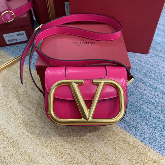 2020 Valentino Supervee Small Shoulder Bag in Azalea Leather