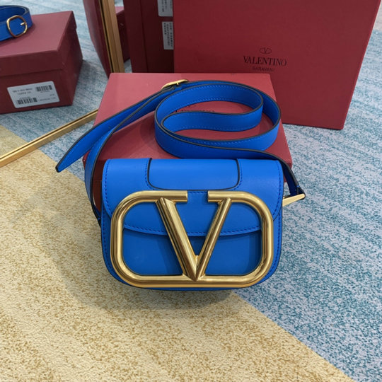 2020 Valentino Supervee Small Shoulder Bag in Blue Leather